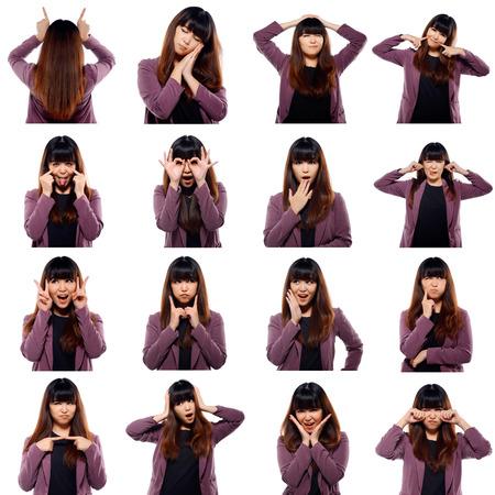 caras de emociones: Conjunto de caras j�venes emocionales adulto asi�tico aisladas sobre fondo blanco