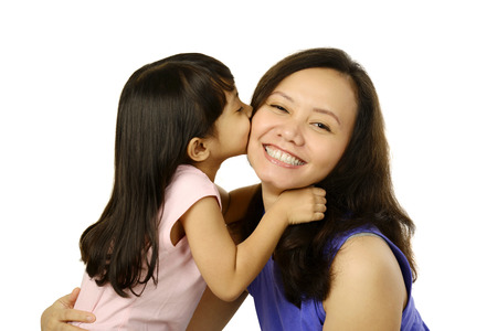 Happy woman and young girl smiling. Mother day concept Stock Photo