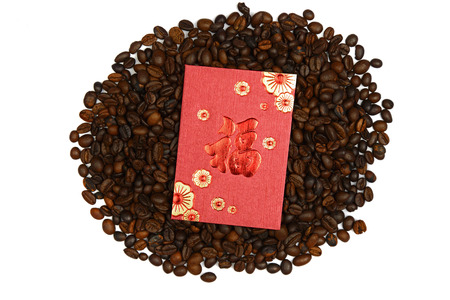 pao: Chinese ang pao and coffee bean isolated over white background