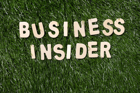 insider: Business insider wooden sign on green grass background Stock Photo