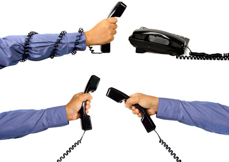 Set of male hand using telephone isolated over white background photo