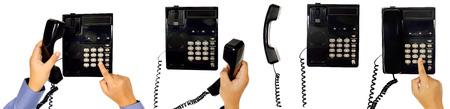 Set of male hand using telephone isolated over white background photo