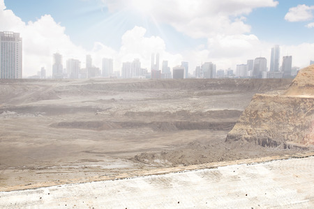 apocalyptic: A destroyed city from far. You can use this for background for image or writing. Post apocalyptic concept.
