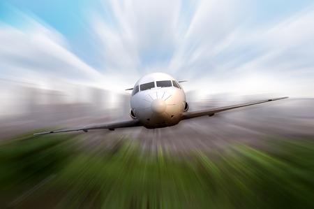 volar: Mosca Jet privado con el desenfoque de movimiento efecto de fondo Foto de archivo