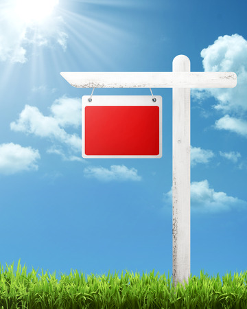 adboard: Blank wooden sign with blue sky background. You can put your text on the board Stock Photo