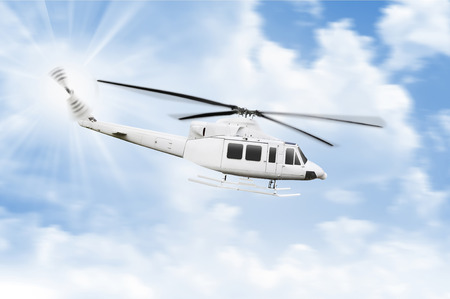 heli: Transport helicopter flying with blue sky background Stock Photo
