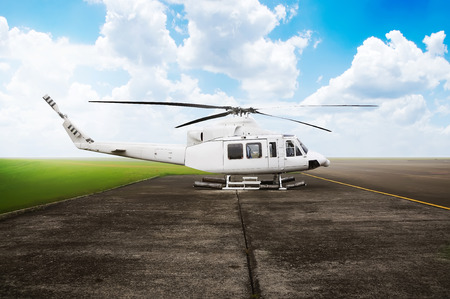 helideck: Helicopter parking on the airport. With blue sky background