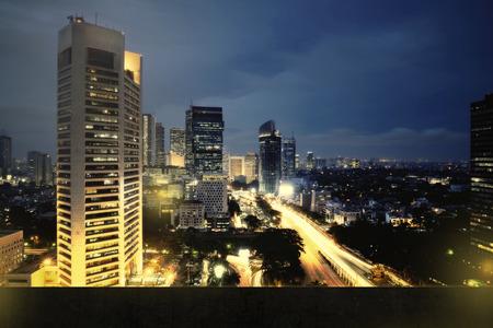 jakarta: Background of jakarta city nightscape with wall