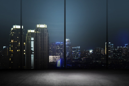 Background of office interior with night cityscape