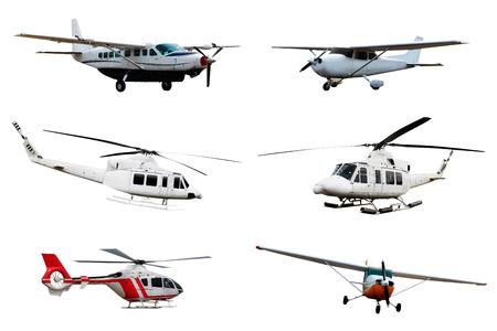 Collection of airplane and helicopter isolated over white background