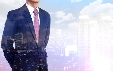 black businessman: Multiple Exposure business man wearing black suit. Business success concept