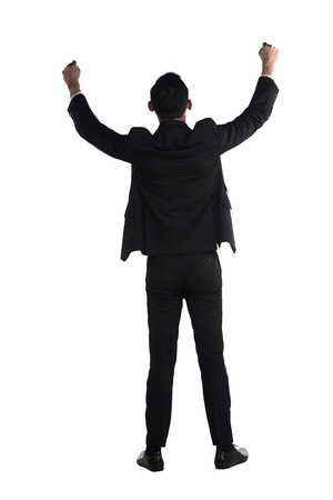 backview: Backview of asian business man raise hand isolated over white background