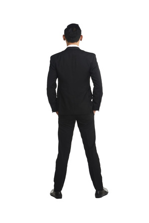 Backview asian business man isolated over white background Stock Photo