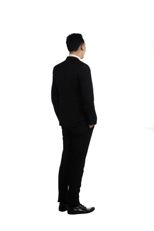 full suit: Asian business man isolated over white background
