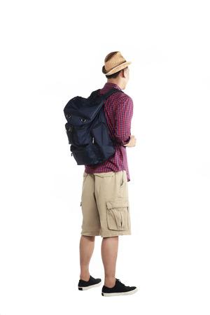backview: Backview of traveler man isolated over white background Stock Photo