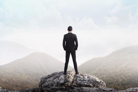 lider: Hombre de negocios de pie en la cima de la montaña mirando el valle. El éxito del negocio concepto Foto de archivo