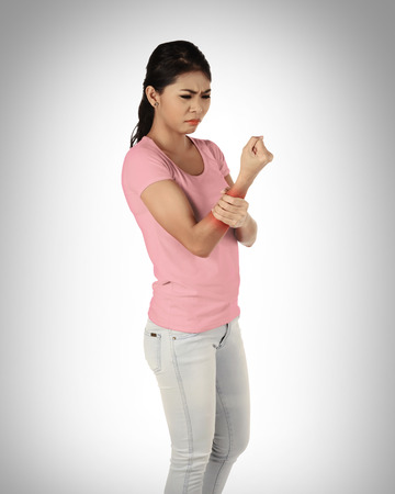 too much work: Young asian woman have arm pain, because too much work out
