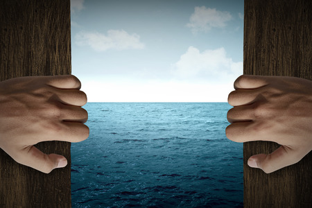 Man hand open door into the sea. Travel holiday concept