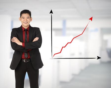 increase sales: Asian business man happy because increase sales
