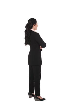 backview: Backview of asian business woman isolated over white background