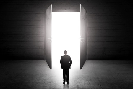 open business: Business man going to the open door. Career path conceptual Stock Photo