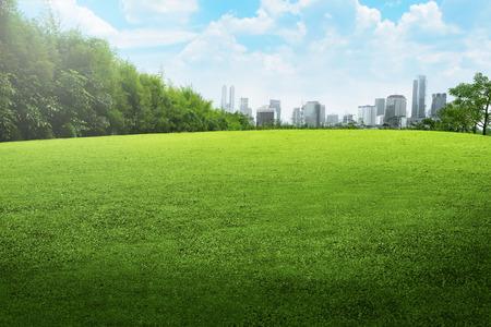 Jakarta city park with blue cloudy sky
