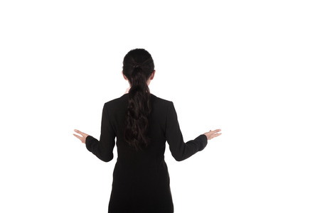 Business woman giving lecture taken from behind isolated over white background