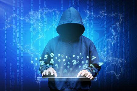 Computer hacker silhouette of hooded man with binary data and network security terms Stockfoto