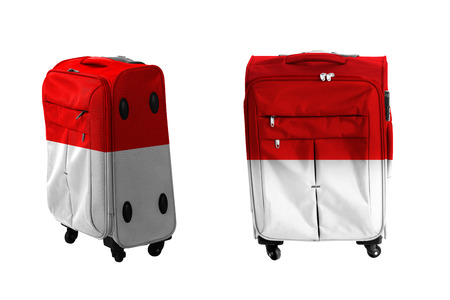 the indonesian flag: Set of suitcase with indonesian flag texture isolated over white background