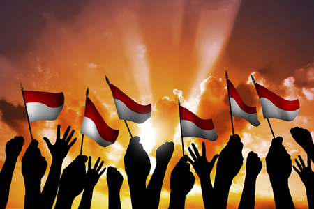 national flag indonesian flag: Group of people waving small Indonesian flag facing blue sky Stock Photo