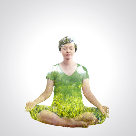 asian pregnant: Asian pregnant woman doing yoga with double exposure concept.