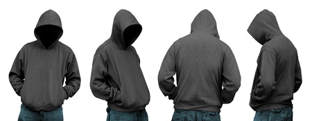 hooded: Set of man in hoodie isolated over white background Stock Photo