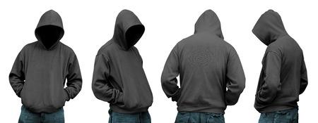 Set van de mens in hoodie geïsoleerd over witte achtergrond