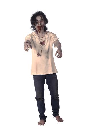 Eng Aziatische mannelijke zombie geïsoleerd op een witte achtergrond