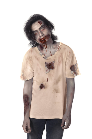 face zombie: Scary asian male zombie isolated over white background