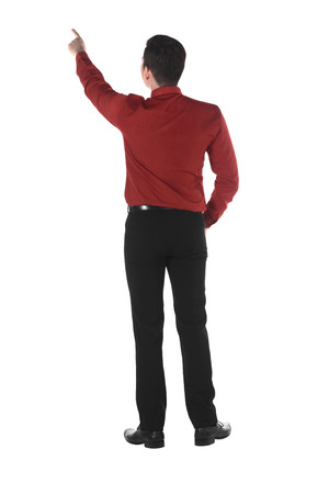 personal point of view: Asian business man pointing something isolated over white background Stock Photo
