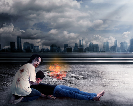 kill: Creepy male zombie kill man with destroyed city background