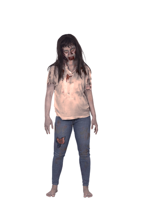 scared woman: Asian female zombie isolated over white background
