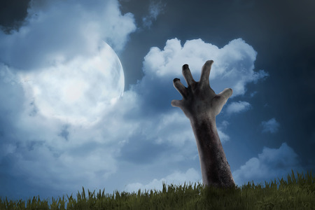 rising dead: Zombie hand come out from ground. Halloween concept