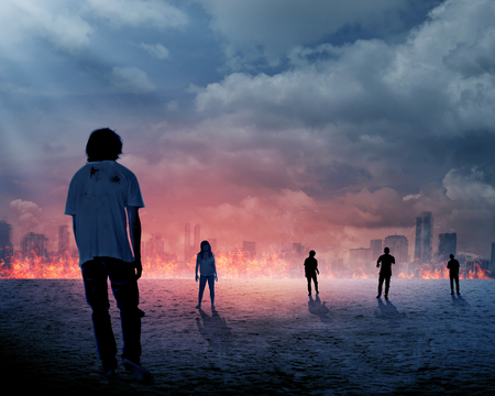 scared woman: Group of zombie over burn city background. Halloween concept Stock Photo