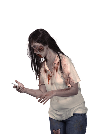 Female zombie holding cellphone isolated over white background