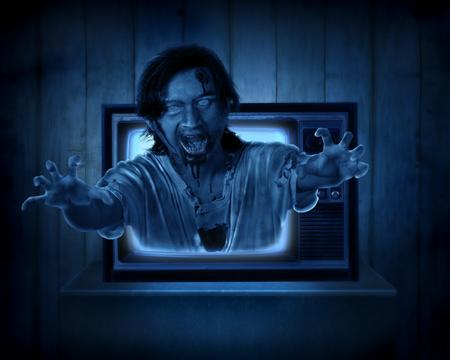 satanas: Scary fantasma fuera de la televisión de edad. Concepto de Halloween