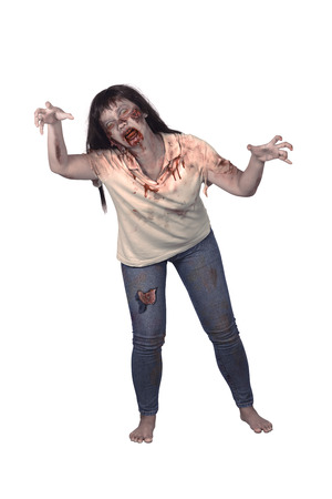 evil woman: Female zombie isolated over white background. Halloween concept