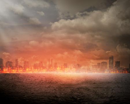 Brandende stad. Ramp concept. U kunt uw ontwerp op de stad