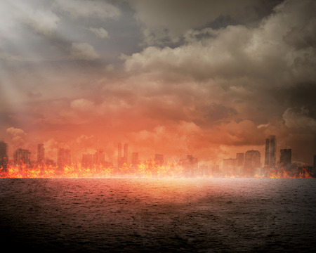 ruined: Burning city. Disaster concept. You can put your design on the city