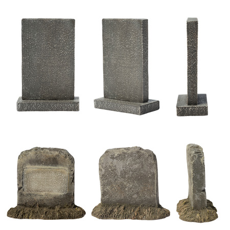spooky graveyard: Set of tombstone isolated on white background