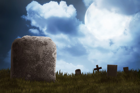 spooky graveyard: Graveyard on the scary night. Halloween concept background