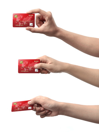 hold: Collection of hand holding credit card isolated over white background Stock Photo
