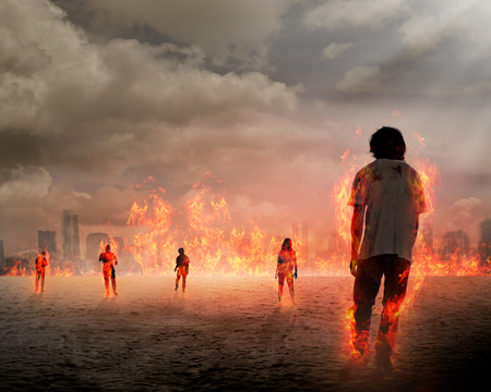 zombie: Group of zombie get burn. Halloween concept