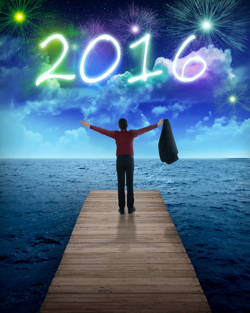 person looking: Business person looking to the sea, celebrate 2016 new year